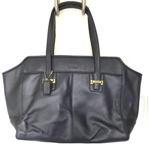 COACH Navy Leather Tote